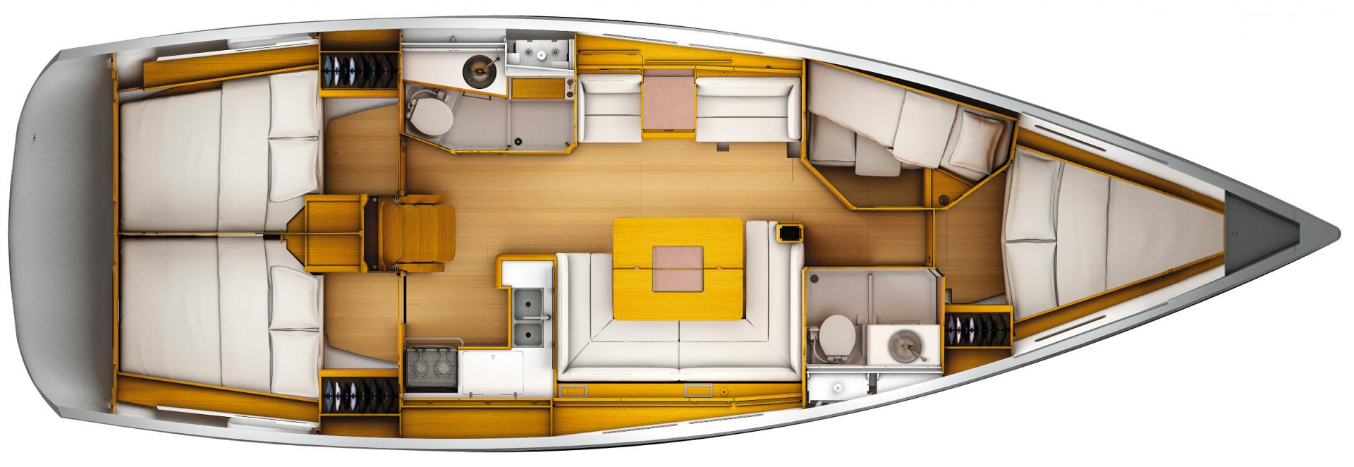 Yachts with 4 cabins sun Odyssey 449 macrocruise charter