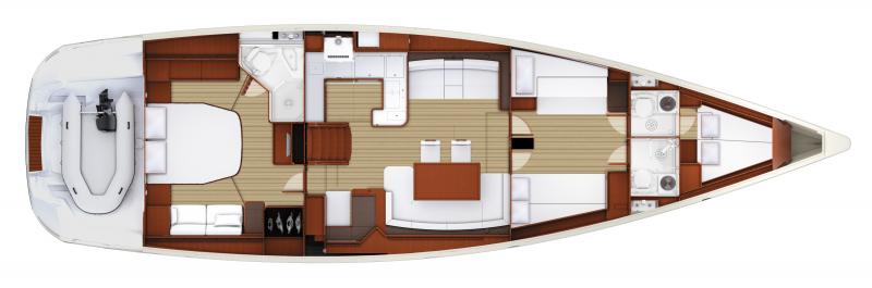 Jeanneau 58 | 3 cabins, 3 heads, Forward bow cabin
