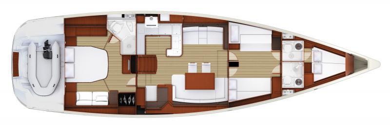 Jeanneau 58 | 3 cabins, 3 heads, Forward bow cabin